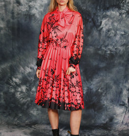 Floral pleated 80s dress