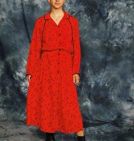 Red 80s midi dress
