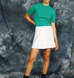 White 70s mini skirt