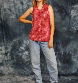 Red 90s polka dot blouse