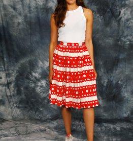 Red 80s polka dot skirt