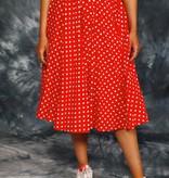 Red 70s polka dot skirt