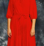 Pleated 80s dress in red