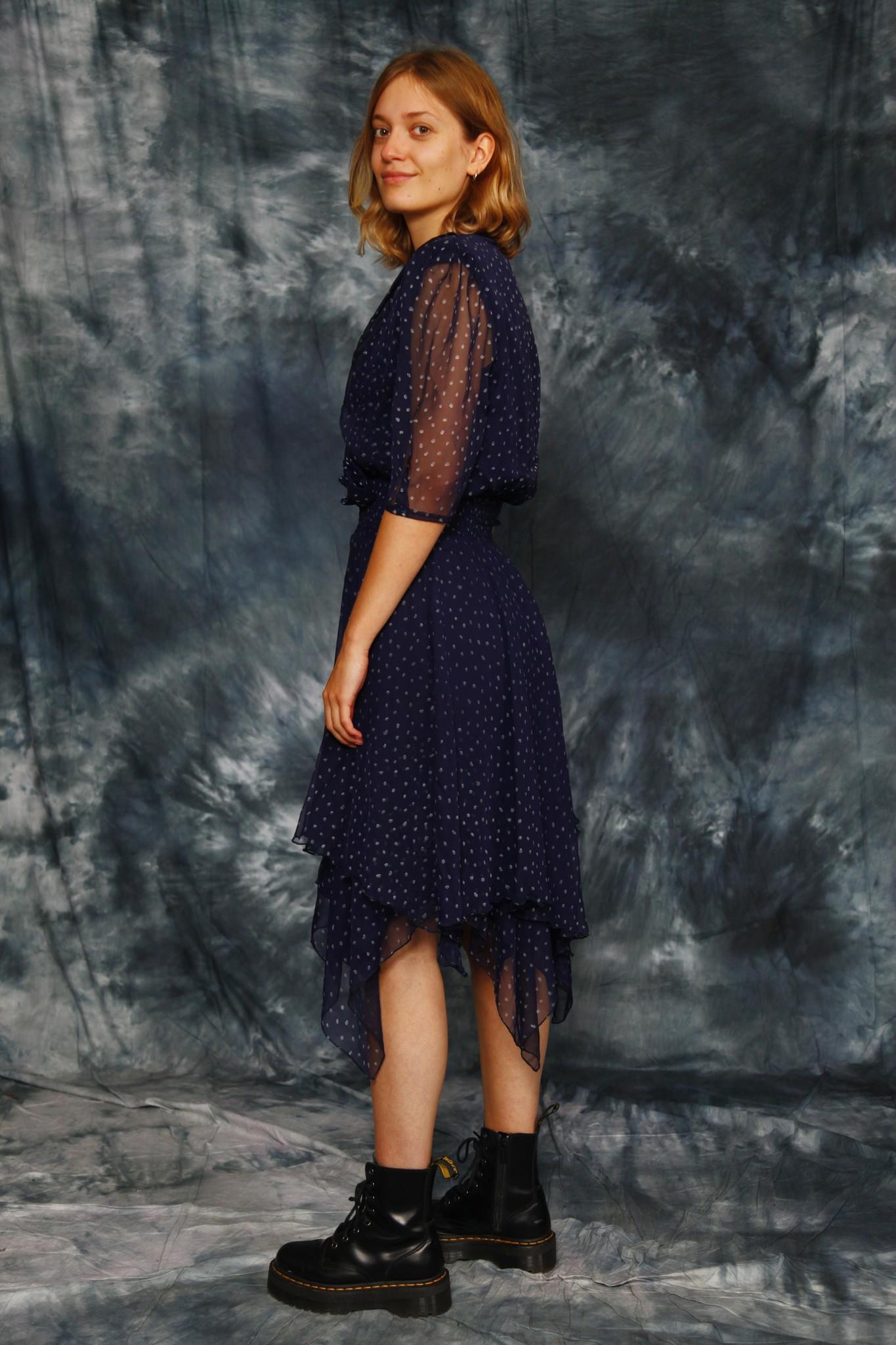 Blue 80s polka dot dress