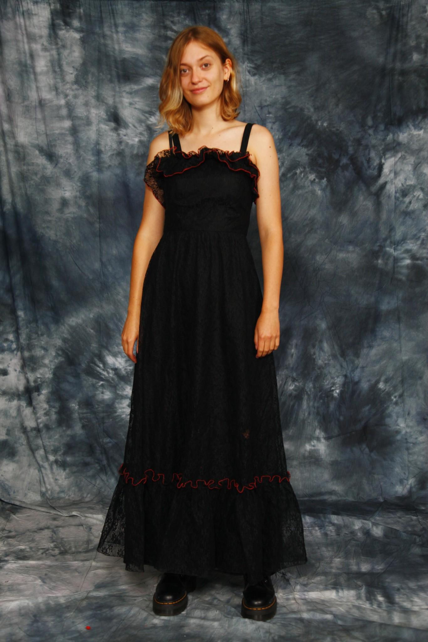 Black 80s maxi dress