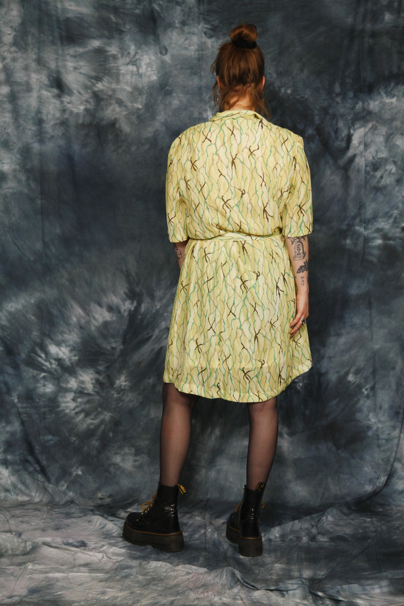 Printed 80s dress in green