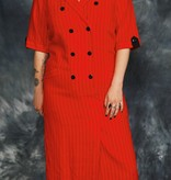 Striped 80s dress in red