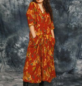 Floral 80s dress in brown