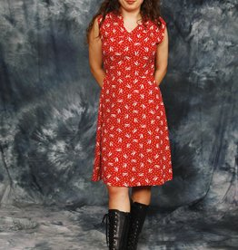 Printed 80s dress in red