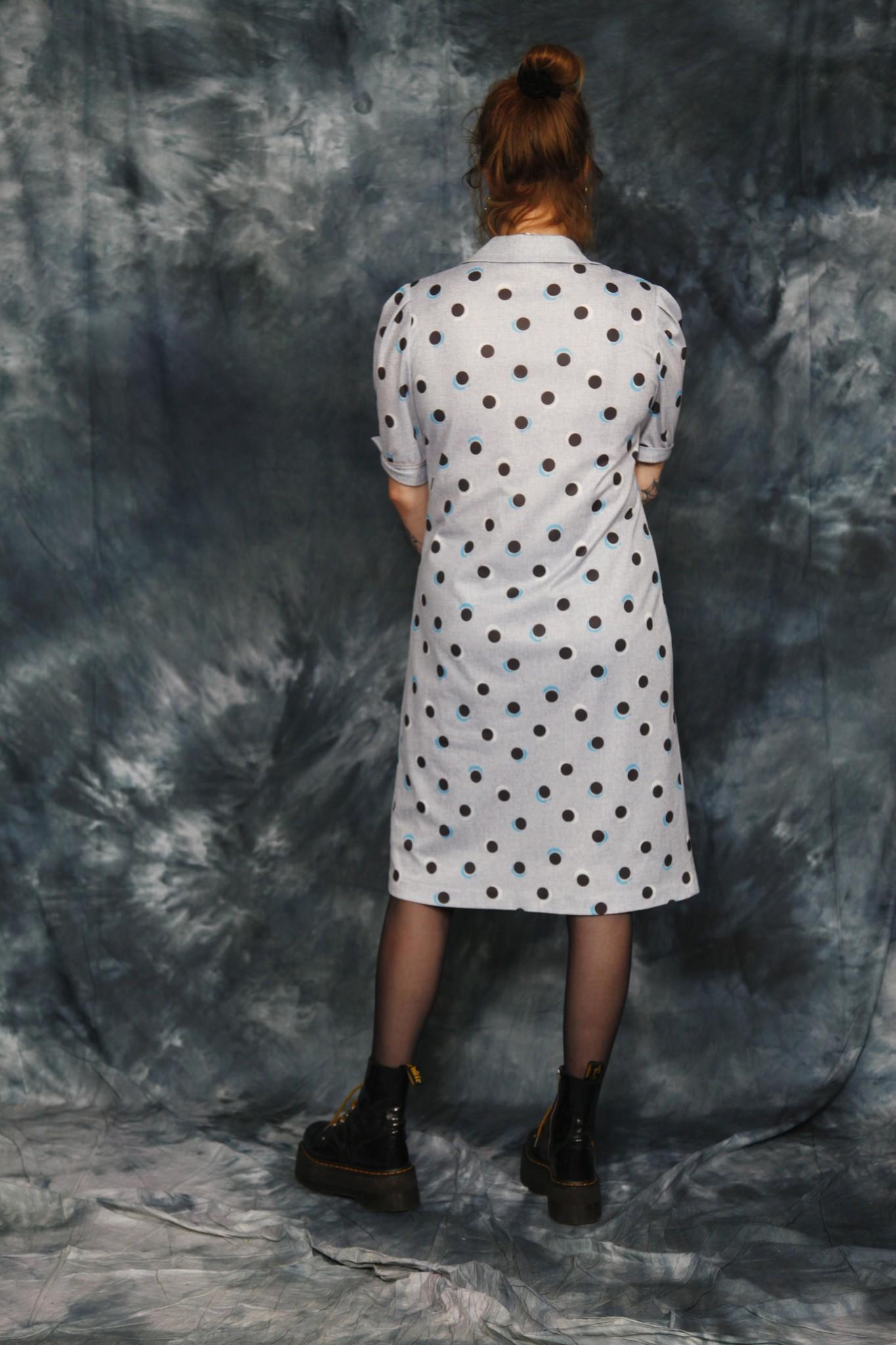 Grey 80s polka dot dress