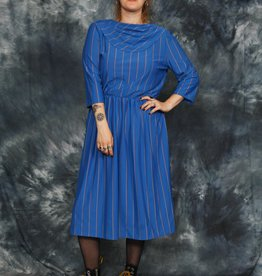 Striped 80s midi dress
