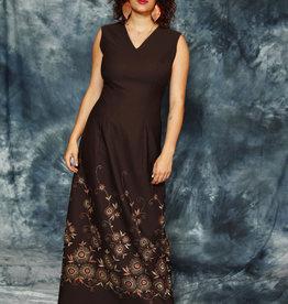 Brown 70s maxi dress