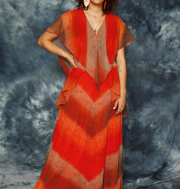 Orange 70s maxi dress
