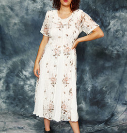 Floral 90s dress in white