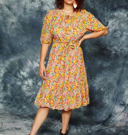 Floral 80s midi dress