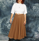Pleated 80s skirt in brown