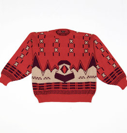 Red 80s cropped jumper