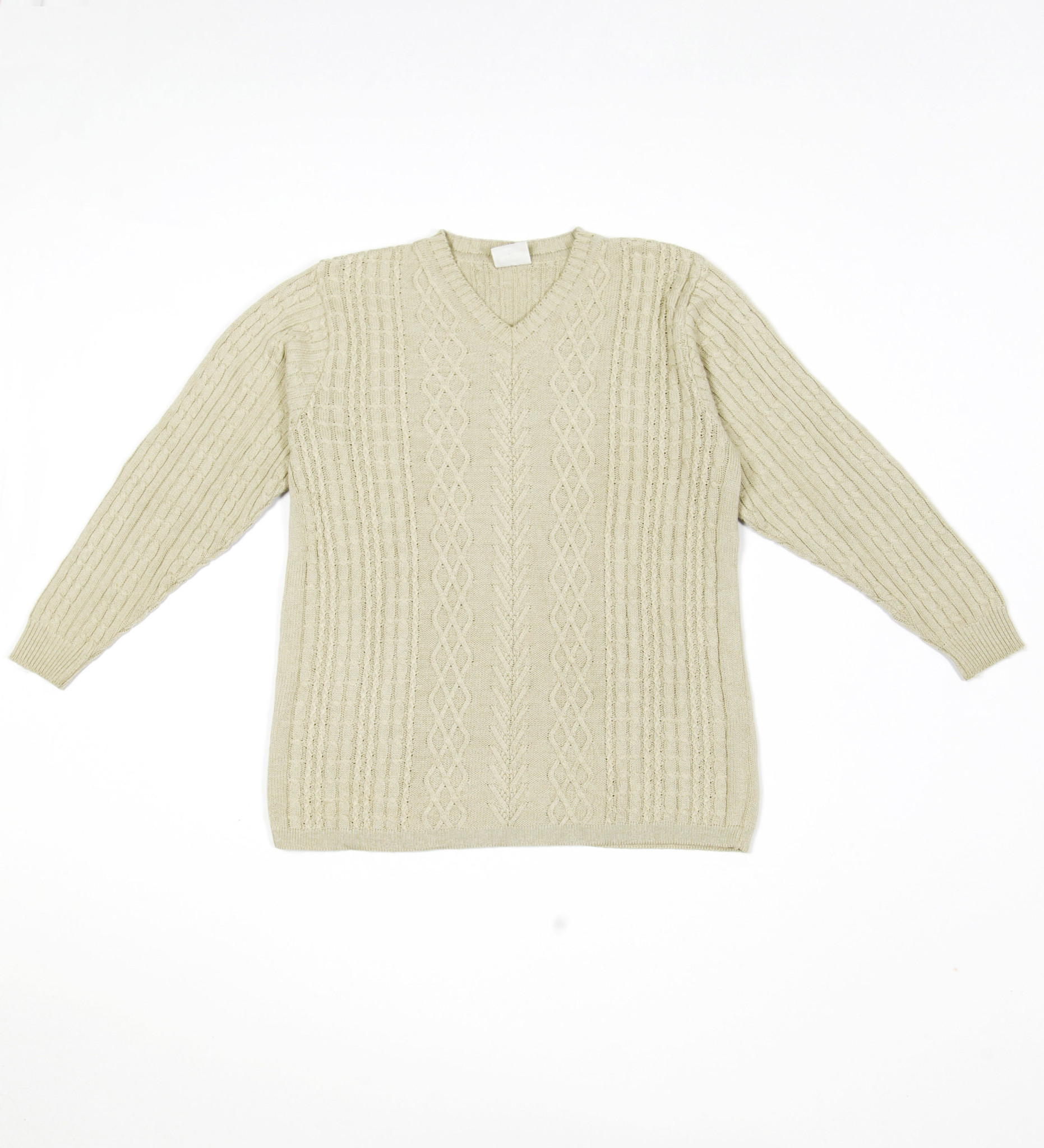 Classic grey beige cable jumper