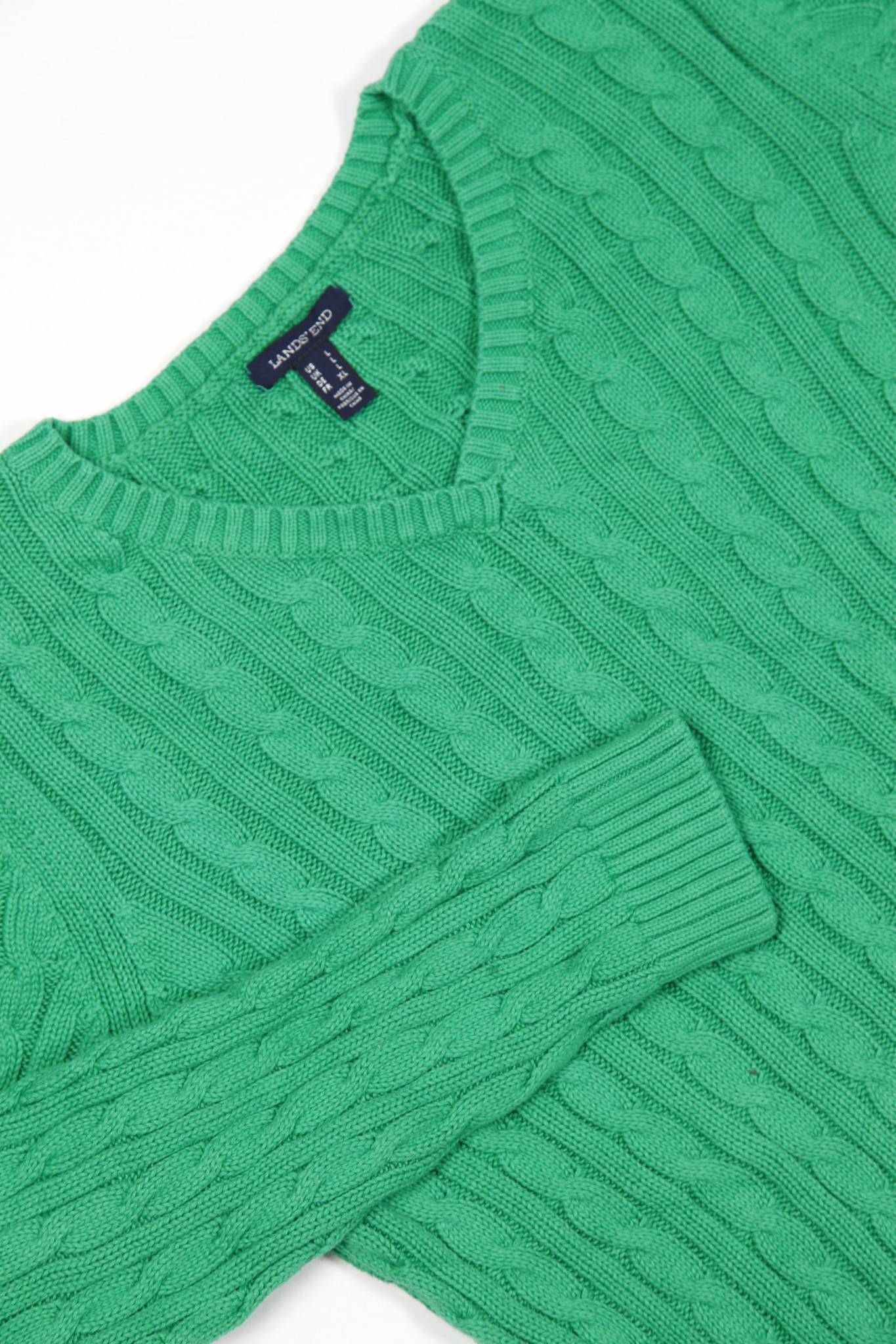 Classic green cable knit jumper