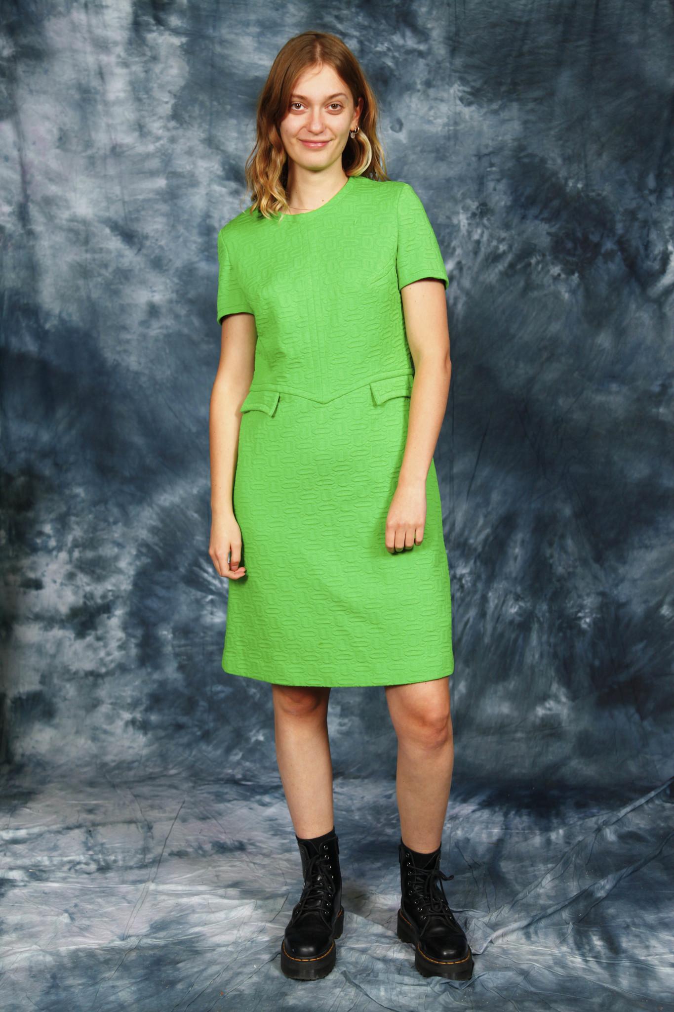 Green 60s midi dress