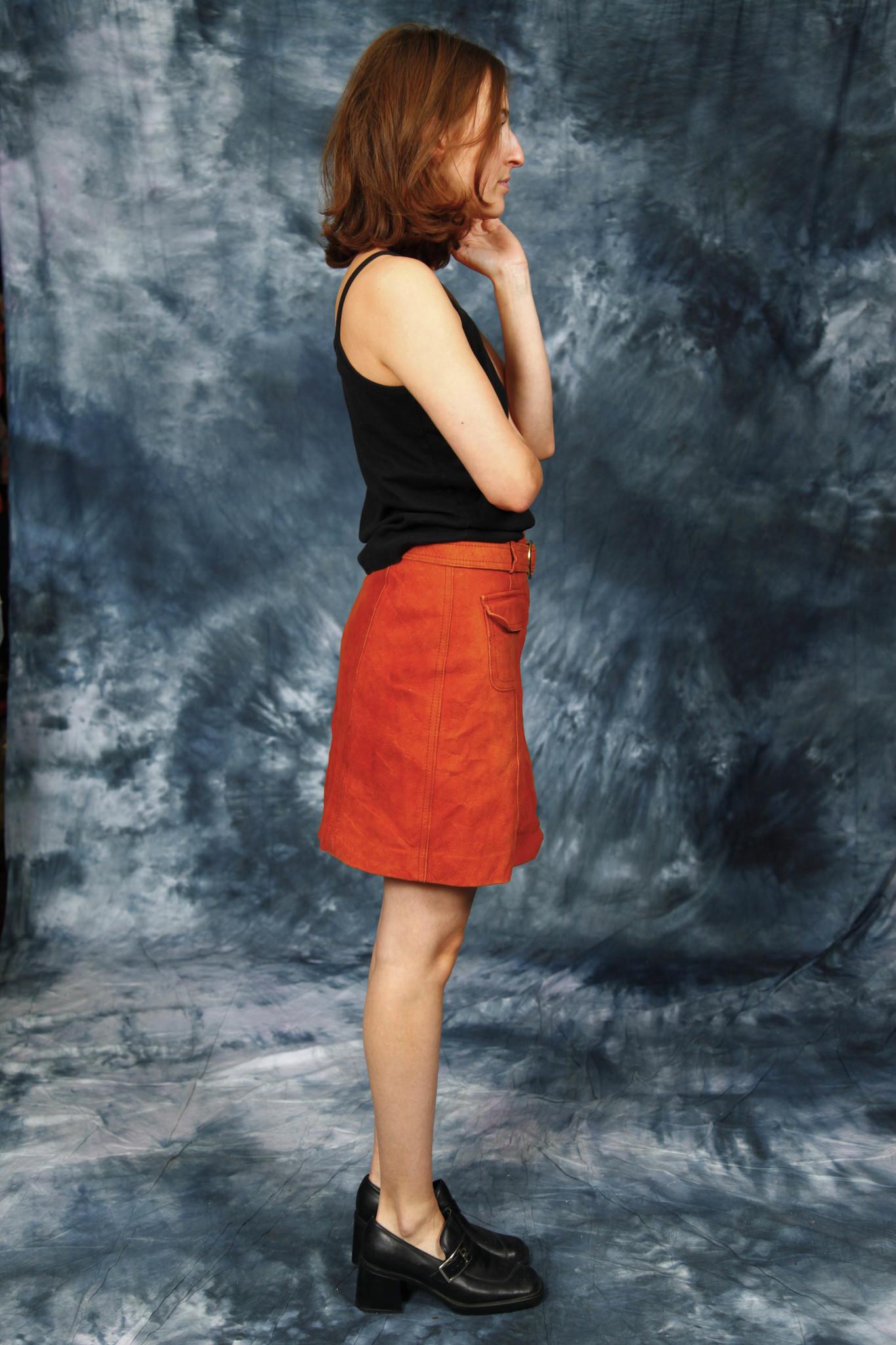 Leather 70s mini skirt