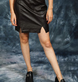 Dark brown leather skirt