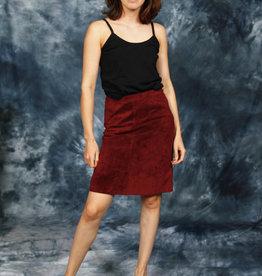 Suede skirt in burgundy