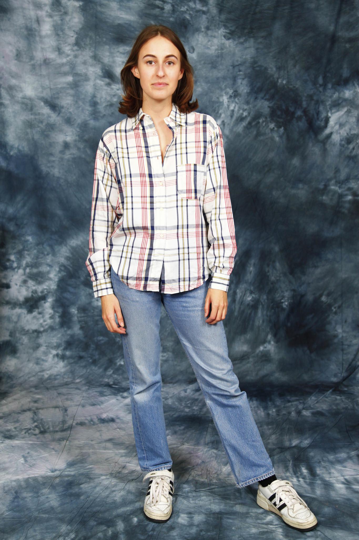 Plaid 90s blouse