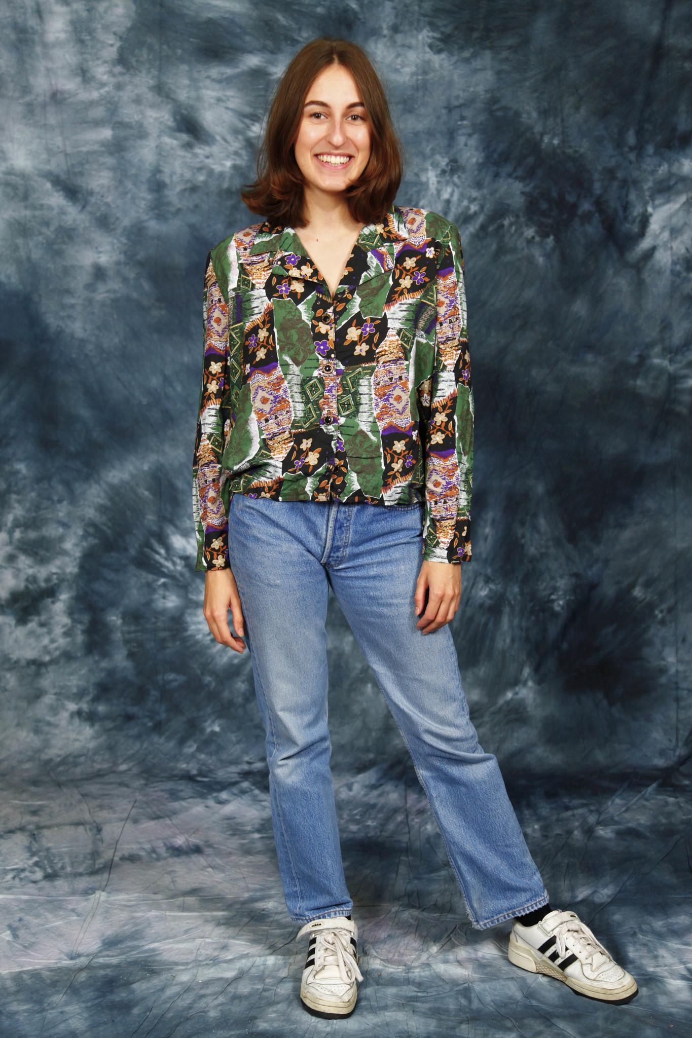 Floral 80s blouse