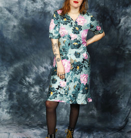 Floral 70s dress in green