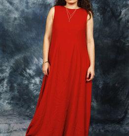 Red 70s maxi dress