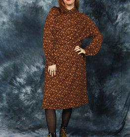 Brown 70s floral dress