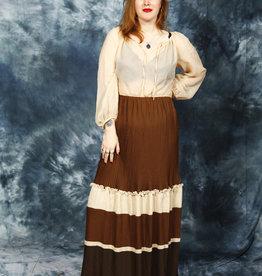 Brown 80s maxi dress