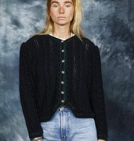 Black embroidered cardigan