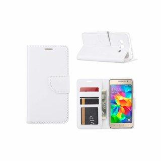 Luxe lederen Bookcase hoesje voor de Samsung Galaxy Grand Prime G530F - Wit
