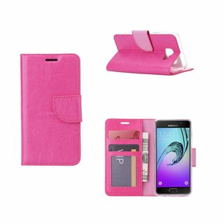 Luxe Lederen Bookcase hoesje voor de Samsung Galaxy A3 (2016) - Roze