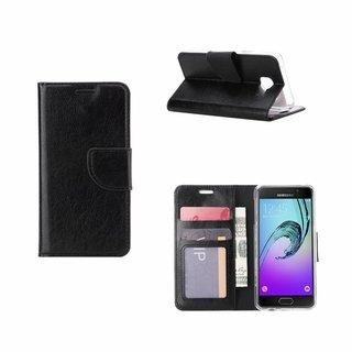 Luxe Lederen Bookcase hoesje voor de Samsung Galaxy A3 (2016) - Zwart