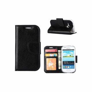Luxe Lederen Bookcase hoesje voor de Samsung Galaxy S3 Mini - Zwart