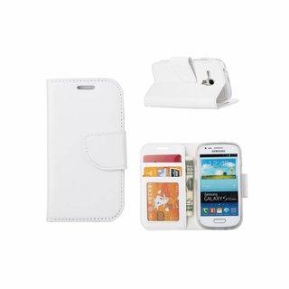 Luxe Lederen Bookcase hoesje voor de Samsung Galaxy S3 Mini - Wit