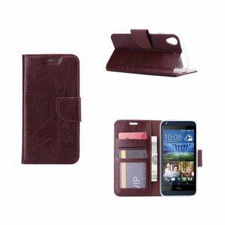 Luxe Lederen Bookcase hoesje voor de HTC Desire 626 - Bruin
