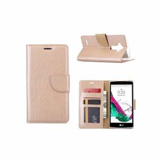 Luxe Lederen Bookcase hoesje voor de LG G4 - Goud