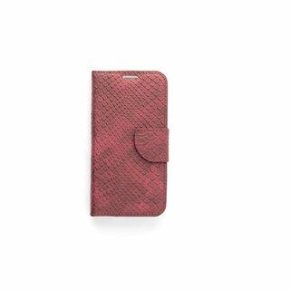 Schubben design Lederen Bookcase hoesje - Bordeauxrood voor de Samsung Galaxy S6 Edge