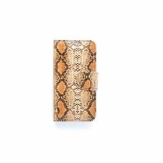 Slangenprint Lederen Bookcase hoesje - Bruin voor de Samsung Galaxy S6 Edge