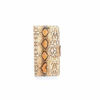Slangenprint Lederen Bookcase hoesje - Bruin voor de Samsung Galaxy S6 Edge Plus