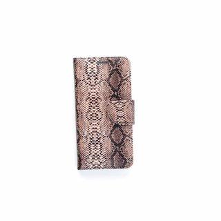 Slangenprint Lederen Bookcase hoesje - Zwart voor de Samsung Galaxy S6 Edge Plus