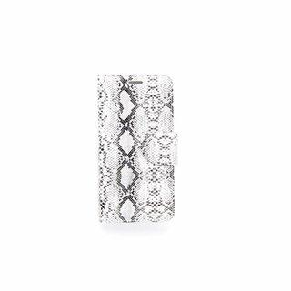 Slangenprint Lederen Bookcase hoesje - Wit voor de Samsung Galaxy S6 Edge Plus
