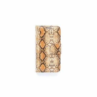 Slangenprint Lederen Bookcase hoesje - Bruin voor de Samsung Galaxy S7