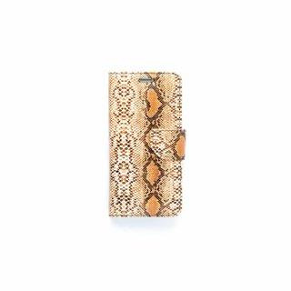 Slangenprint Lederen Bookcase hoesje - Bruin voor de Samsung Galaxy S7 Edge