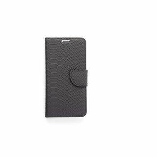 Schubben design Lederen Bookcase hoesje - Zwart voor de Samsung Galaxy S6 Edge Plus