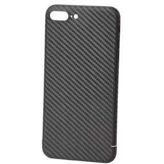 Originele Carbon Back Cover Hoesje voor de Apple iPhone 8 Plus - Zwart
